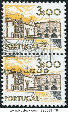 Portugal - Circa 1972: A Stamp Printed In The Portugal, Is Depicted Hospital Viana Do Castelo, Circa