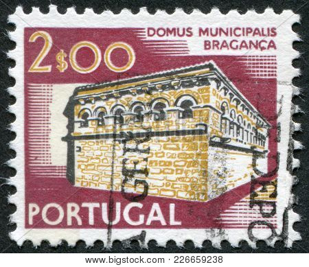 Portugal - Circa 1974: A Stamp Printed In The Portugal, Shows The Town Hall Braganza, Circa 1974
