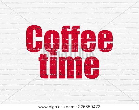 Time Concept: Painted Red Text Coffee Time On White Brick Wall Background