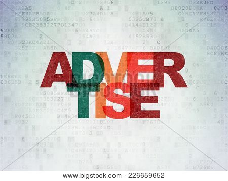 Advertising Concept: Painted Multicolor Text Advertise On Digital Data Paper Background