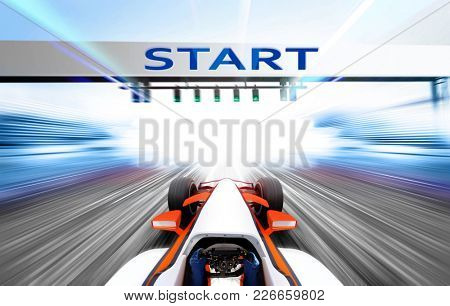3D illustration of sport car driving at high speed lap - motion blur
