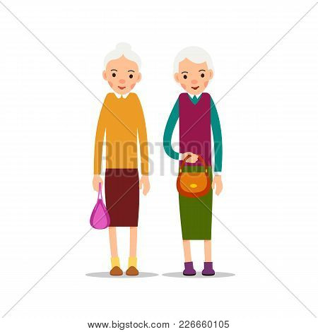 Two Old Woman. Two Senior, Elder Women With Women's Handbags, Cartoon Illustration Isolated On White