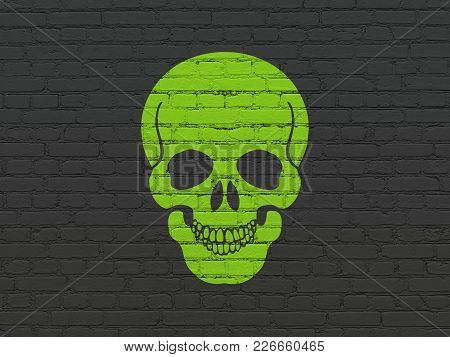 Health Concept: Painted Green Scull Icon On Black Brick Wall Background