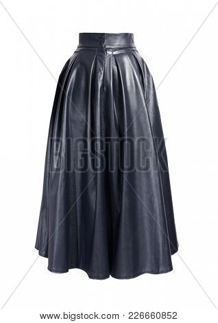 Fashion black skirt. Leather skirt