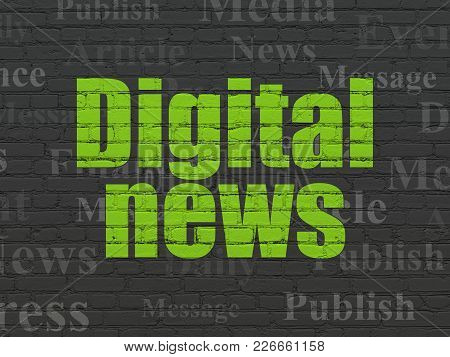 News Concept: Painted Green Text Digital News On Black Brick Wall Background With  Tag Cloud
