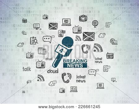 News Concept: Painted Blue Breaking News And Microphone Icon On Digital Data Paper Background With
