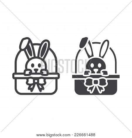 Easter Bunny In Basket Line And Glyph Icon, Easter And Holiday, Rabbit Sign Vector Graphics, A Linea
