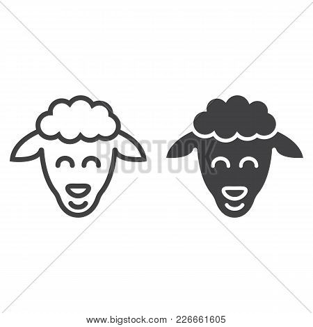 Sheep Line And Glyph Icon, Easter And Holiday, Lamb Sign Vector Graphics, A Linear Pattern On A Whit