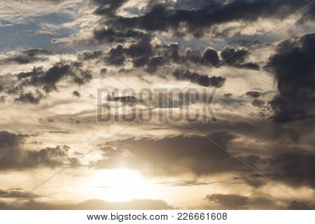 Beautiful Clouds At Dawn . In The Park In Nature
