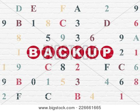 Software Concept: Painted Red Text Backup On White Brick Wall Background With Hexadecimal Code