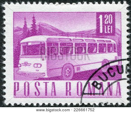 Romania - Circa 1968: A Stamp Printed In The Romania, Depicts The Postal Bus, Circa 1968