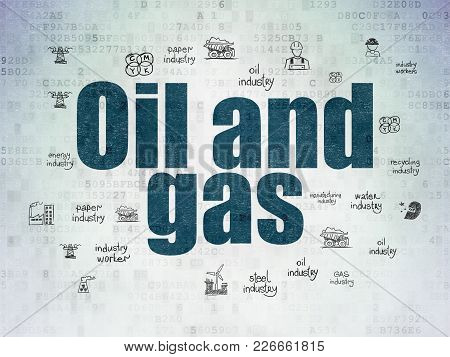 Industry Concept: Painted Blue Text Oil And Gas On Digital Data Paper Background With  Hand Drawn In