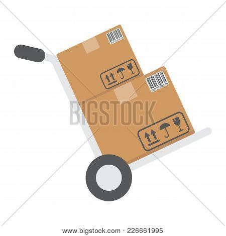 Hand Truck With Cardboard Boxes Flat Icon, Logistic And Delivery, Hand Dolly Sign Vector Graphics, A