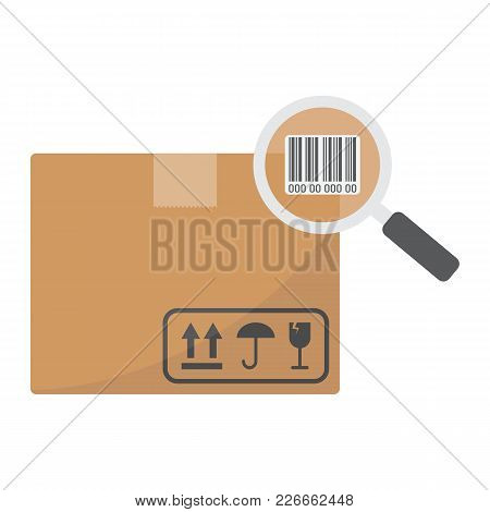 Tracking Parcel Flat Icon, Logistic And Delivery, Find Barcode Sign Vector Graphics, A Colorful Soli