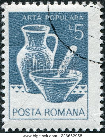 Romania - Circa 1982: A Stamp Printed In The Romania, Shows The Bowl, Pitcher, From Marginea, Circa