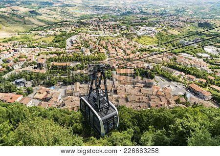 City Cable Car That Connect To The Fortress Rock In San Marino Republic