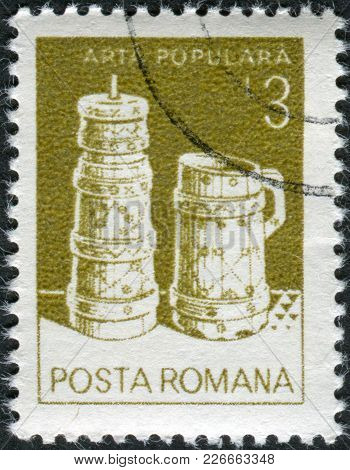 Romania - Circa 1982: A Stamp Printed In The Romania, Shows Butter Churn, Wooden Bucket, From Moldav