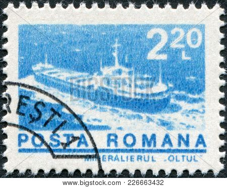 Romania - Circa 1974: A Stamp Printed In The Romania, Depicts Ore Carrier Oltul, Circa 1974
