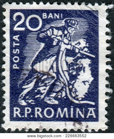 Romania - Circa 1960: A Stamp Printed In The Romania, Depicts Miner With Drill, Circa 1960