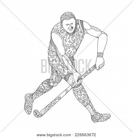Doodle Art Illustration Of A Field Hockey Player, A Team Sport Of The Hockey Family, Running With Ho
