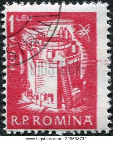 Romania - Circa 1960: A Stamp Printed In The Romania, Depicts Atomic Reactor, Circa 1960