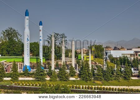 Tehran, Iran - April 28, 2017: Several Long Range Missiles Installed In The Garden Of The Holy Defen
