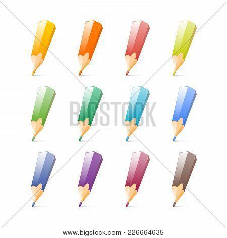 Set Of Bright Color Pencils. Vector Illustration Flat