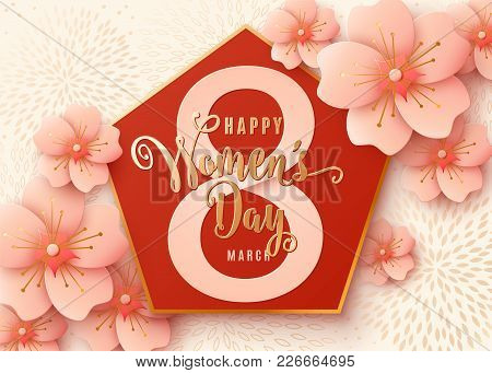 8 March Celebration Background Design With Light Pink Flowers. Happy Womens Day Stylish Light Gold G