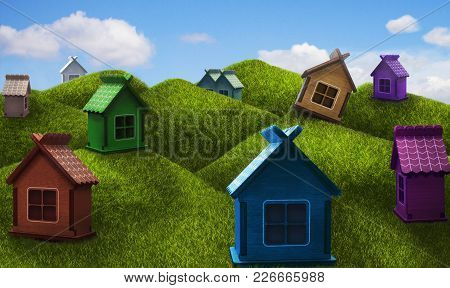 Сute Colorful One-storey Houses On The Hills In A Sunny Day. Summer Panorama With Toy Houses. Countr