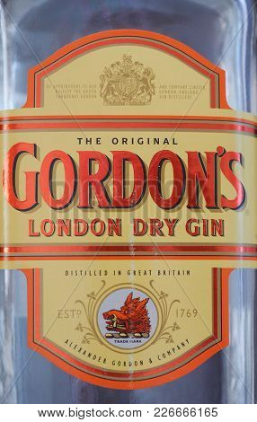 London, Uk - Circa February 2018: Bottle Of Gordon London Dry Gin Alcoholic Drink