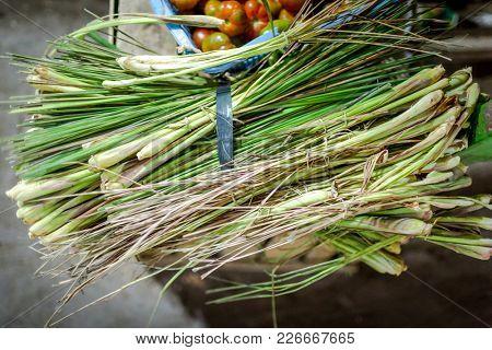 Green lemongrass on one of Bali markets