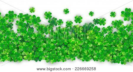 Patricks Day Seamless Background With Four Green Clover Heap With Realistic Shadows. 3d Motion Effec