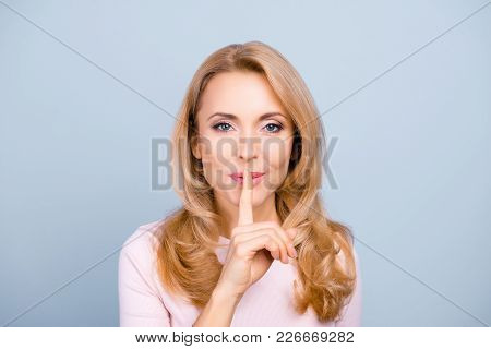 Shhh! Portrait Of Pretty, Charming, Mysterious, Sexy, Attractive Woman Holding Forefinger On Mouth,