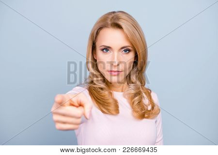 You Annoy Me! Close Up Portrait Of Serious Strict Aggressive Nervous Stressed Woman Pointing On Came