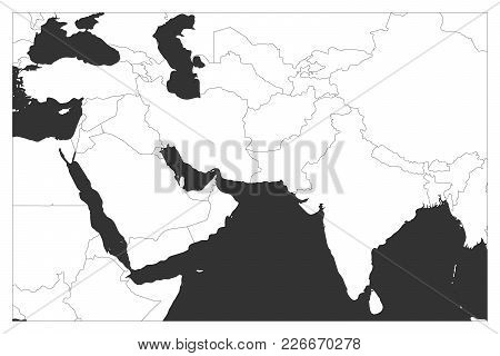 Political Map Of South Asia And Middle East Countries. Simple Flat Vector Outline Map.