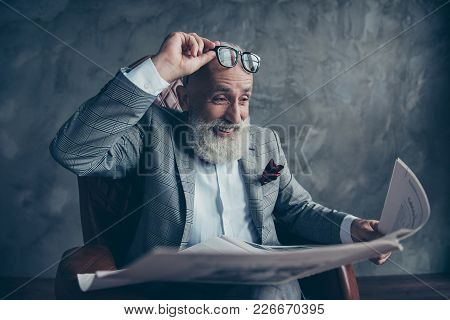 Attractive, Laughing Boss In Suit Take Off Glasses, Look, Watch, Read Conical Facts, Information In