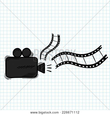 Illustration of film recorder isolated on background