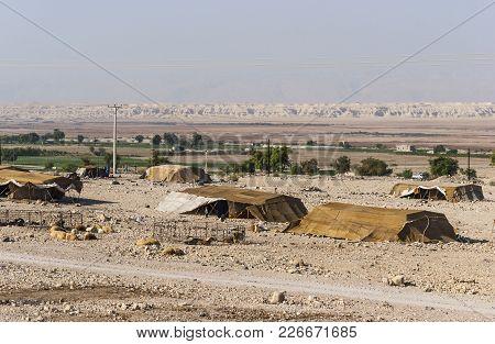 Bedouin Houses In The Desert Near Dead Sea In Jordan