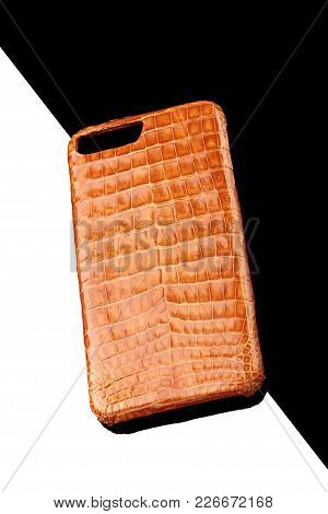 Exclusive Golden Crocodile Leather Case For Smartphone.luxury Case. On Black And White Background