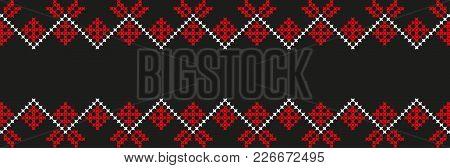 Embroidered Cross-stitch Ethnic Ukraine Pattern Vector Eps