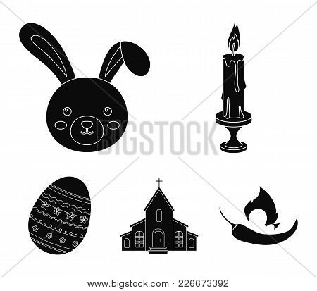Church, Candle, Easter Bunny And Painted Egg.easter Set Collection Icons In Black Style Vector Symbo