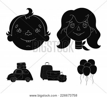 Camping, Woman, Boy, Bag .family Holiday Set Collection Icons In Black Style Vector Symbol Stock Ill