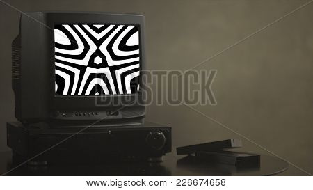 Tv Shows Abstract Pictures. Tv Shows A Zombie Video On The Monitor. Tv Shows Video Hypnotizing Consc