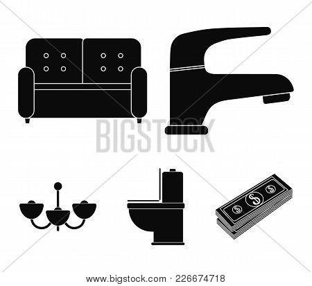 Crane, Sofa, Toilet, Chandelier.furniture Set Collection Icons In Black Style Vector Symbol Stock Il