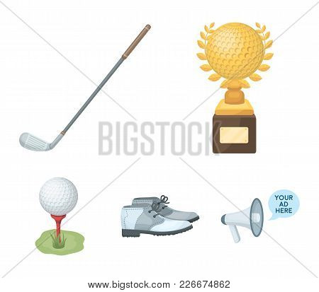 Cup, Golf Club, Ball On The Stand, Golfer Shoes.golf Club Set Collection Icons In Cartoon Style Vect
