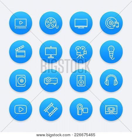 Video, Audio, Multimedia Icons, Eps 10 File, Easy To Edit