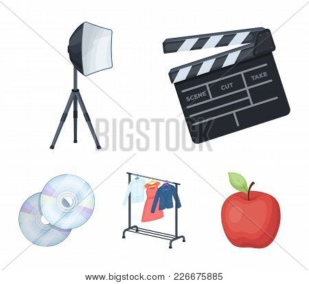 Movies, Discs And Other Equipment For The Cinema. Making Movies Set Collection Icons In Cartoon Styl