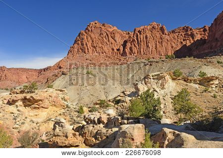 Canyon Wall Panorama In Spring In Capitol Reef National Park In Utah