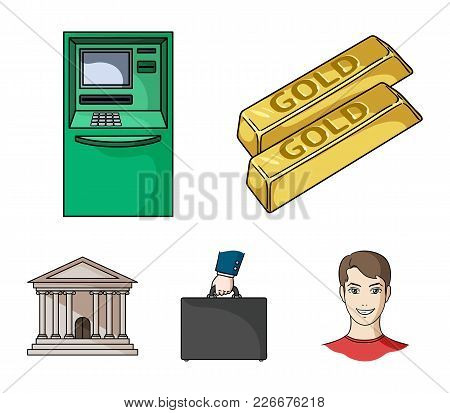 Gold Bars, Atm, Bank Building, A Case With Money. Money And Finance Set Collection Icons In Cartoon