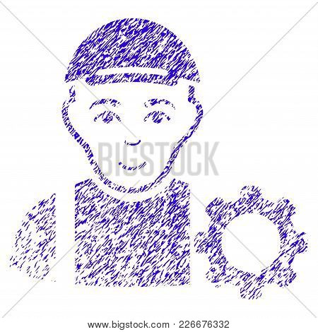 Grunge User Options Gear Rubber Seal Stamp Watermark. Icon Symbol With Grunge Design And Dirty Textu